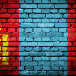Brick wall with painted flag of Mongolia — Стоковое фото