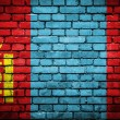 Brick wall with painted flag of Mongolia — Stok fotoğraf