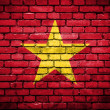 Brick wall with painted flag of Vietnam — Stok fotoğraf