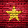 Brick wall with painted flag of Vietnam — Stock fotografie