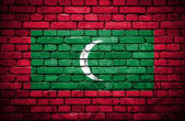 Brick wall with painted flag of Maldives — Stock Photo