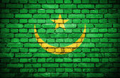 Brick wall with painted flag of Mauritania — Stock Photo