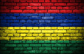 Brick wall with painted flag of Mauritius — Stock Photo