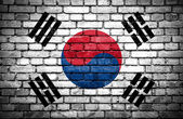 Brick wall with painted flag of South Korea — Stock Photo