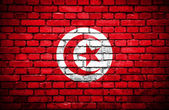 Brick wall with painted flag of Tunisia — Stock Photo