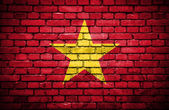 Brick wall with painted flag of Vietnam — Stock Photo