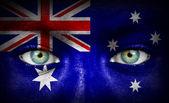 与澳大利亚的国旗绘的人脸 — 图库照片