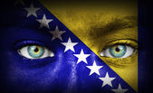 Human face painted with flag of Bosnia and Herzegovina — Stock Photo