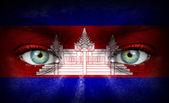 Lidská tvář s kambodžská vlajka — Stock fotografie