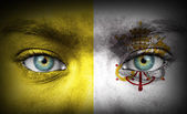 Human face painted with flag of Vatican — Stock Photo