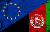Waving flag of Afghanistan and EU — Stock Photo