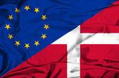 Waving flag of Denmark and EU — Stock Photo