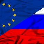 Waving flag of Russia and EU — Stock Photo #44191315