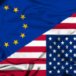 Waving flag of United States of America and EU — Stock Photo #44193051
