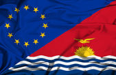 Waving flag of Kiribati and EU — Stock Photo