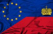 Bandeira de lichtenstein e Ue — Fotografia Stock