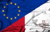 Waving flag of Malta and EU — Stock Photo