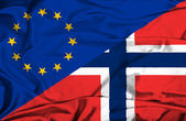 Viftande flagga norge och eu — Stockfoto