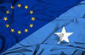 Waving flag of Somalia and EU — Stock Photo