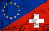 瑞士和欧盟那飘扬的旗帜 — 图库照片