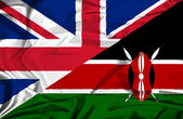 Waving flag of Kenya and UK — Stock Photo