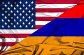 Waving flag of Armenia and USA — Stock Photo