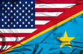 Waving flag of Congo Democratic Republic and USA — Stock Photo