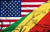 Waving flag of Congo Republic and USA — Stock Photo