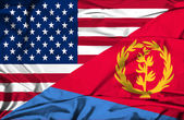 Waving flag of Eritrea and USA — Stock Photo