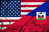 Bandeira do haiti e eua — Fotografia Stock