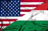 Waving flag of Hungary and USA — Stock Photo