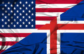 Waving flag of Iceland and USA — Stock Photo