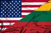 Waving flag of Lithuania and USA — Stock Photo