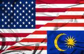 Malaysia och usa viftande flagga — Stockfoto