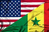 Waving flag of Senegal and USA — Stock Photo