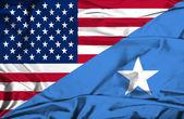 Waving flag of Somalia and USA — Stock Photo