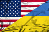 Waving flag of Ukraine and USA — Fotografia Stock