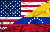 Waving flag of Venezuela and USA — Stock Photo