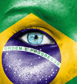 Woman face painted with flag of Brazil — Stock Photo