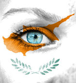 Woman face painted with flag of Cyprus — Foto de Stock