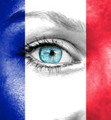 Woman face painted with flag of France — Stock Photo