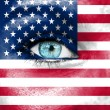 Woman face painted with flag of USA — Stock Photo