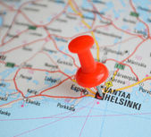 Close up of Helsinki map with red pin - Travel concept — Stock Photo