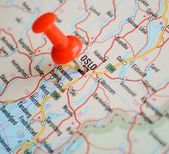 Close up of Oslo map with red pin - Travel concept — Stock Photo