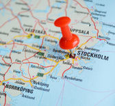 Close up of Stockholm map with red pin - Travel concept — Stock Photo