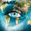 "Planet earth and blue human eye - ""Elements of this image furnis — Stock Photo"