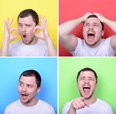 Collage of man with different facial expressions against multico — Stock Photo