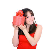 Young woman portrait hold gift in christmas color style — Stock Photo