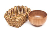 Empty basket and bowl isolated on white background — Stock Photo