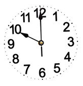 Wall clock isolated on white background showing time — Stock Photo